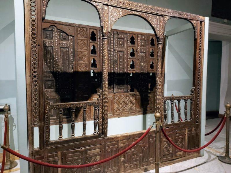 Islamic wooden door at the Alexandria National Museum