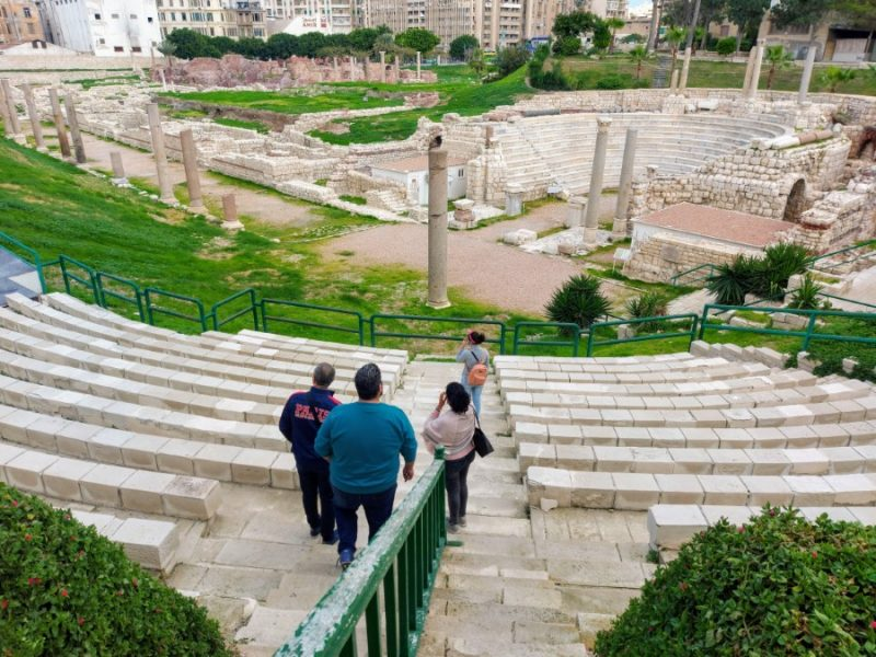 Going down the steps at the Roman theatre