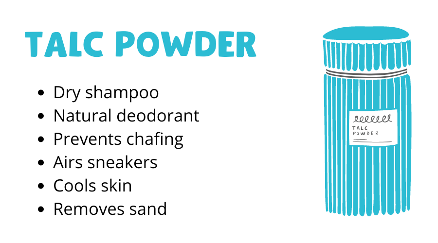 Talc powder graphic with different hacks